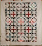 Amazing 1880and039s Postage Stamp Chain Antique Quilt Gorgeous Vintage Fabrics