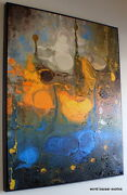 55x66 Large Abstract Wall Art Psycchedelic Deep Blue And Gold Framed In Bronze