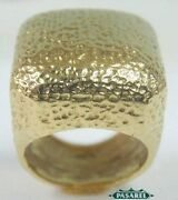 Unique Designer 14k Yellow Gold Hammered Ring Size 7.5