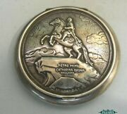 Russian Silver Peter I Powder Case St. Petersburg 1950s
