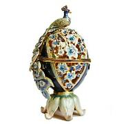 Jeweled Egg And Peacock, Gold Plated, Spice Box, Candle Holder Israel Gift Judaica