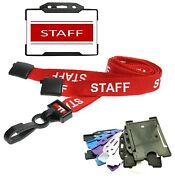 Red Staff Identity Card With Red Staff Breakaway Lanyard Plus Id Card Holder