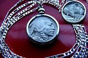 Antique 1936-1937 Buffalo Indian Head Nickel On A 28 925 Sterling Silver Chain