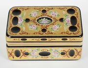 Vintage Cut Murano Black Glass Hinged Box W/ Hand Painted Detail And 24k Gilding