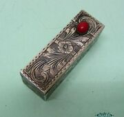 Silver Coral Vanity Lipstick Holder With Mirror Italy Ca 1920