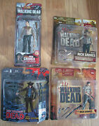 Mcfarlane Lot Of 4 Rick Grimes Action Figures Series 1, 2, 4 And Comic Book S 1