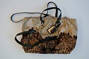 Animal Print Suede Leather Dolce And Gabbana Tote Handbag19x12x4 In14 In Drop