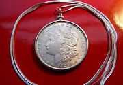 Antique Morgan 900 Silver Dollar Pendant On 30 925 Sterling Silver Snake Chain