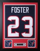 Arian Foster Framed And Autographed Navy Texans Jersey Auto Jsa Coa D1-s