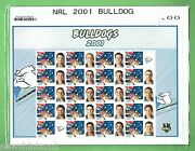 T40. 2001 Nrl Canterbury Bulldogs Rugby League Stamp Sheet