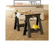 Stanley Sta170713 Folding Saw Horse With Shelf Twin Pack Trestles Stst1-70713