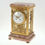 And Co. 14andrdquoh Louis Xvi Style Bronze Mantle Clock With Marble Base