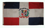 3x5 Embroidered Sewn Dominican Republic 300-d Premium Nylon Flag 3and039x5and039 2 Clips