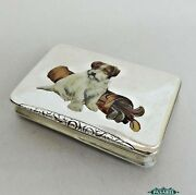 Golf And Dog Interest Russian Silver And Enamel Snuff Box Kostroma 1908-1917