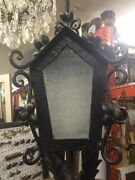 Old Antique Exterior Spanish Lamp Post Lamp With Metal Flowers 26x12