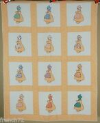 Well Quilted Vintage 30and039s Sunbonnet Sue Dutch Girl Applique Antique Crib Quilt