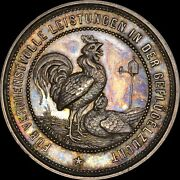 Rooster Germany 1880 Silver Medal Finest And Only @ Ngc And Pcgs Ms63 Toned