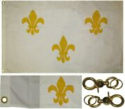 3x5 Embroidered Sewn White Fleur De Lis France 100 Cotton Flag 3and039x5and039 2 Clips