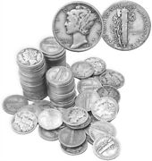 Mercury Dimes 90 Silver 50 Coin Roll 5 Face Value Average Circulated In Stock