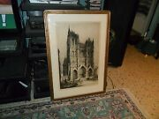Andrew F Affleck Signed Architectural Art Etching Amiens Cathedral Notre-dame Fr