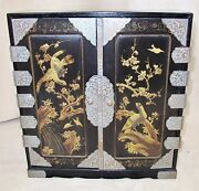 14 Antique Japanese Mini Wood Chest Cabinet With Drawers Painted Black And Gold