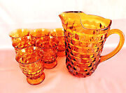 Mid Century Gold Amber Barware Set Of 6 Tumblers And Pitcher/ Indiana Glass /usa