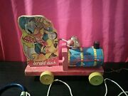 Vintage Antique 1940and039s Fisher Price Donald Duck Choo Choo Wooden Pull Toy 450