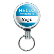 Retractable Reel Badge Key Holder With Belt Clip Hello My Name Is Sa-si