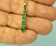 Fine 1.00ct Colombian Natural Emerald Pendant 18k Yellow Gold