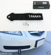 2x Tanaka Universal Black Racing Sports Tow Strap Tow Hook 8000 Lbs Front + Rear