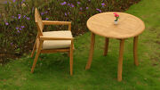 2 Pc Outdoor Dining Teak Patio Set - 36 Round Table And 1 Stacking Arm Chairs New