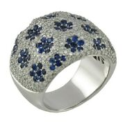 Ring With 1.68 Ct Diamonds Nanddeg 292 Sapphires 2.41 Ct White Gold - Made In Italy