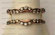 Solitaire Enhancer Round Champagne Diamonds Ring Guard Wrap 14k Yellow Rose Gold