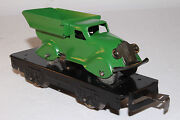 1930and039s Marx O Gauge Flat Car With Dump Truck Load Green Restored Lot 1