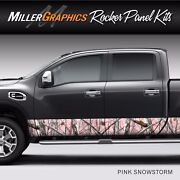 Camo Pink Snowstorm Rocker Panel Graphic Decal Wrap Kit Truck Suv - 4 Sizes