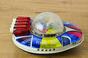 Antique Red China Tin Toy Mf 249 Rocket Space Flying Boat Astronaut Me Ms