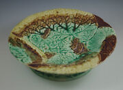 VICTORIAN  MAJOLICA ETRUSCAN POND LEAF CAKE STAND, BROWN-GREEN -VERY RARE