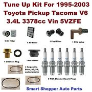 Tune Up For 1995-03 Tacoma Spark Plug Serpentine Belt,oil Fuel Air Filter, Pcv