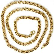 18k Yellow Gold Chain 19.70 In Big Round Circle Rolo Link 5 Mm Made In Italy