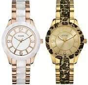 Guess Goddess Gold White Dial Stainless Steel Ladies Bracelet Watch