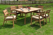 7 Pc Outdoor Dining Teak Set - 94 Double Ext Rectangle Table 6 Stacking Chairs