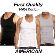 Pack 6 Mens 100 Cotton Tank Top A-shirt Wife Beater Undershirt Ribbed Muscle