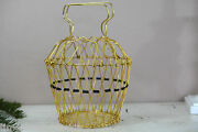 Rare Vintage Mid Century Modern Collapsible Folding Wire Egg Basket Brass