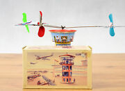 Antique Tin Toy Boxed Schopper Germany Airplane Airport Tower Clockwork