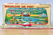 Antique Tin Oy Tps Tokyo Working Boxed Dreamland Airport Helicopter Airplane