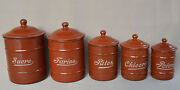 5 French Antique Enamel Canisters Storage Containers Brown Enamelware