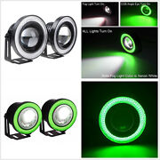 Autos Angel Eye Green Cob Halo Ring Drl Led Projector Daytime Fog Driving Lights