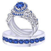 Blue Sapphire Trio Wedding Ring Band Set Solid 18k White Gold
