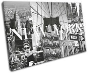 New York Fashion City Typography Single Canvas Wall Art Picture Print