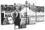 London Fashion City Typography Multi Canvas Wall Art Picture Print